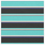 [ Thumbnail: Dim Gray, Yellow, Turquoise, Black & Midnight Blue Fabric ]