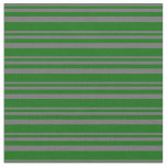 [ Thumbnail: Dim Grey and Dark Green Colored Stripes Fabric ]