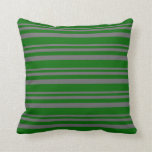 [ Thumbnail: Dim Grey and Dark Green Colored Stripes Pillow ]
