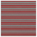 [ Thumbnail: Dim Grey and Maroon Colored Stripes Fabric ]