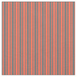 [ Thumbnail: Dim Grey and Red Lines/Stripes Pattern Fabric ]