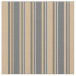 [ Thumbnail: Dim Grey and Tan Colored Lines/Stripes Pattern Fabric ]