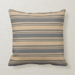 [ Thumbnail: Dim Grey and Tan Colored Lines/Stripes Pattern Throw Pillow ]