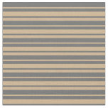 [ Thumbnail: Dim Grey and Tan Colored Stripes/Lines Pattern Fabric ]