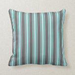[ Thumbnail: Dim Grey and Turquoise Lined Pattern Throw Pillow ]