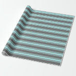 [ Thumbnail: Dim Grey and Turquoise Lined Pattern Wrapping Paper ]
