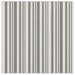 [ Thumbnail: Dim Grey & Beige Colored Stripes/Lines Pattern Fabric ]