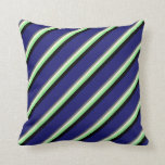 [ Thumbnail: Dim Grey, Beige, Light Green, Black, Midnight Blue Throw Pillow ]