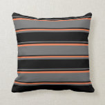 [ Thumbnail: Dim Grey, Black, and Coral Colored Pattern Pillow ]