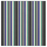 [ Thumbnail: Dim Grey, Black, Aquamarine, Tan & Midnight Blue Fabric ]