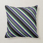 [ Thumbnail: Dim Grey, Black, Aquamarine, Tan & Midnight Blue Throw Pillow ]