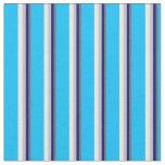 [ Thumbnail: Dim Grey, Blue, Grey, Mint Cream & Deep Sky Blue Fabric ]