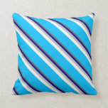 [ Thumbnail: Dim Grey, Blue, Grey, Mint Cream & Deep Sky Blue Throw Pillow ]