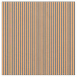 [ Thumbnail: Dim Grey & Brown Colored Lined/Striped Pattern Fabric ]