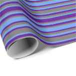 [ Thumbnail: Dim Grey, Cornflower Blue & Indigo Colored Lines Wrapping Paper ]