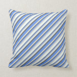 [ Thumbnail: Dim Grey, Cornflower Blue, Light Gray & Mint Cream Throw Pillow ]