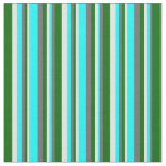 [ Thumbnail: Dim Grey, Cyan, Light Cyan & Dark Green Pattern Fabric ]