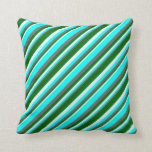 [ Thumbnail: Dim Grey, Cyan, Light Cyan & Dark Green Pattern Throw Pillow ]