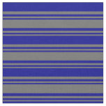 [ Thumbnail: Dim Grey & Dark Blue Colored Stripes Pattern Fabric ]