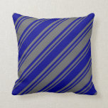 [ Thumbnail: Dim Grey & Dark Blue Colored Stripes Pattern Throw Pillow ]