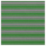 [ Thumbnail: Dim Grey & Dark Green Colored Lines Fabric ]