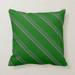 [ Thumbnail: Dim Grey & Dark Green Lines Throw Pillow ]