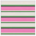 [ Thumbnail: Dim Grey, Green, Beige, Hot Pink, and Black Lines Fabric ]