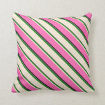 [ Thumbnail: Dim Grey, Green, Beige, Hot Pink, and Black Lines Throw Pillow ]