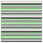 [ Thumbnail: Dim Grey, Green, Black, and White Colored Lines Fabric ]