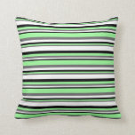[ Thumbnail: Dim Grey, Green, Black, and White Colored Lines Throw Pillow ]