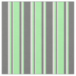 [ Thumbnail: Dim Grey, Green & White Stripes/Lines Pattern Fabric ]