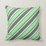 [ Thumbnail: Dim Grey, Green & White Stripes/Lines Pattern Throw Pillow ]