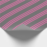 [ Thumbnail: Dim Grey & Hot Pink Lined Pattern Wrapping Paper ]