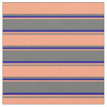 [ Thumbnail: Dim Grey, Light Salmon & Dark Blue Pattern Fabric ]