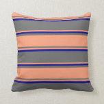 [ Thumbnail: Dim Grey, Light Salmon & Dark Blue Pattern Pillow ]