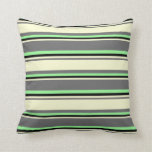 [ Thumbnail: Dim Grey, Light Yellow, Black & Green Pattern Throw Pillow ]