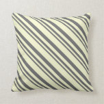 [ Thumbnail: Dim Grey & Light Yellow Striped Pattern Pillow ]