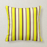 [ Thumbnail: Dim Grey, Maroon, Light Yellow, Yellow, and Black Throw Pillow ]