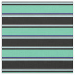 [ Thumbnail: Dim Grey, Powder Blue, Black, Aquamarine & Blue Fabric ]