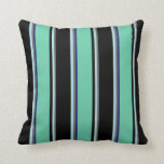 [ Thumbnail: Dim Grey, Powder Blue, Black, Aquamarine & Blue Throw Pillow ]