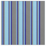 [ Thumbnail: Dim Grey, Sky Blue, and Blue Colored Stripes Fabric ]