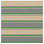 [ Thumbnail: Dim Grey, Tan, and Green Lines Fabric ]
