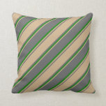 [ Thumbnail: Dim Grey, Tan, and Green Lines Throw Pillow ]