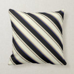 [ Thumbnail: Dim Grey, Tan, Beige, Black & Midnight Blue Lines Throw Pillow ]