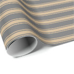[ Thumbnail: Dim Grey & Tan Colored Lines Pattern Wrapping Paper ]