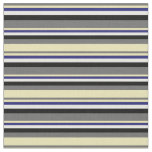 [ Thumbnail: Dim Grey, Tan, Midnight Blue, White, and Black Fabric ]