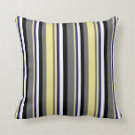 [ Thumbnail: Dim Grey, Tan, Midnight Blue, White, and Black Throw Pillow ]