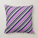 [ Thumbnail: Dim Grey, Violet, Midnight Blue, Black, and White Throw Pillow ]