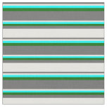 [ Thumbnail: Dim Grey, White, Aqua & Dark Green Colored Lines Fabric ]