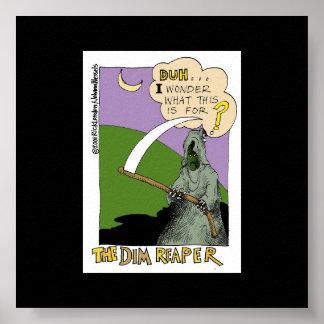 Dim Reaper Halloween Funny Cartoon Poster